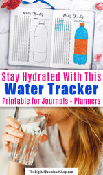 Water tracker printable for bullet journals and other planners. Use this 31 day hydration tracker planner printable to make sure you drink enough water every day, and have fun coloring in the water bottle drawing!