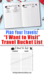 Travel Bucket List Printable- Use this travel journal printable to help you keep track of all the places you want to go, and check them off once you've been there! | printable bullet journal insert, planner printable, #travel #planner #DigitalDownloadShop