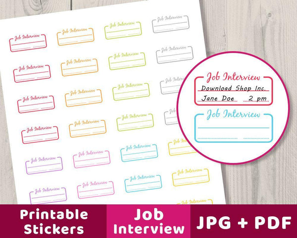 Job Interview Printable Planner Stickers - The Digital Download Shop