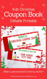 Christmas Coupon Book Template- This editable coupon book template makes a wonderful stocking stuffer for kids or your significant other! | printable Christmas gift idea, #diyGift #homemadeGift #stockingStuffer #Christmas #DigitalDownloadShop