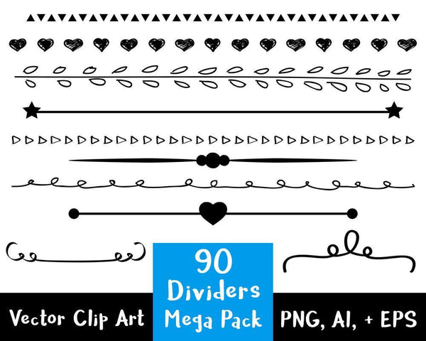 Line Divider Clipart - 90 Dividers Mega Pack - The Digital Download Shop