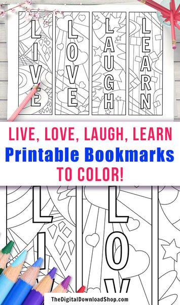 "4 ""Live, Love, Laugh, Learn"" abstract art printable bookmarks to color! 
