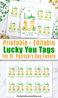 "St. Patrick's Day Tag Printable: ""Lucky U""- These editable favor tags are the perfect finishing touch to your St. Patrick's Day party favors! 