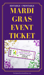 Mardi Gras Event Ticket Printable: Fleur de Lis- These custom Mardi Gras's event tickets are the perfect way to send out invitations for your Mardi Gras party or community Mardi Gras event! | #MardiGras #invitation #partyInvite #printable #DigitalDownloadShop