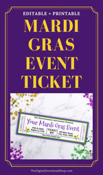 Mardi Gras Event Ticket Printable: 2 Fleur de Lis- These custom Mardi Gras's event tickets are the perfect way to send out invitations for your Mardi Gras party or community Mardi Gras event! | #MardiGras #eventTicket #invitation #printable #DigitalDownloadShop