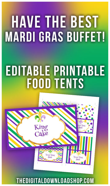 Mardi Gras Food Tents Printable Editable- Have the best Mardi Gras party buffet ever with the help of these editable printable Mardi Gras food tents! | buffet cards, place cards, food tags, food labels, #MardiGras #printable #DigitalDownloadShop
