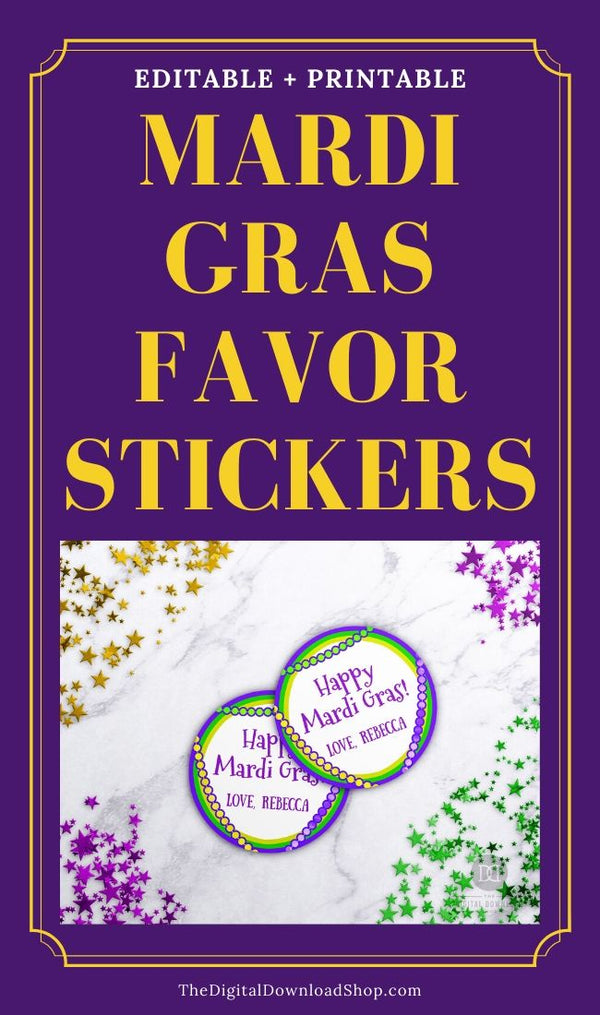 Mardi Gras Labels Printable Template: Beads- These custom Mardi Gras's labels are the perfect way to make personalized party favor stickers! | #MardiGras #printable #labels #favorTags #DigitalDownloadShop
