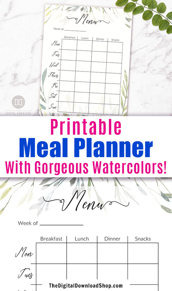 Meal Planner Printable- Meal planner template printable with beautiful watercolor greenery!