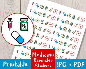 Medicine Reminder Printable Planner Stickers - The Digital Download Shop