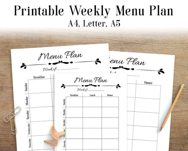 Menu Plan Printable - The Digital Download Shop