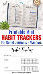 Mini Habit Trackers Bullet Journal Printable- 1 page of mini 31 day habit tracker printables for bullet journals and other planners. Use this multi habit tracker page printable to help you stick to new good habits (or stop old bad ones)! | bujo pages, #bulletJournal #habitTracker #DigitalDownloadShop