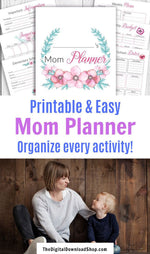 Printable Mom Planner- Whether you're a stay at home mom or work outside of the home, being a mom is hard. That's why you need this printable mom planner to organize, plan, and simplify your life! | #planner #sahm #stayAtHomeMom #DigitalDownloadShop