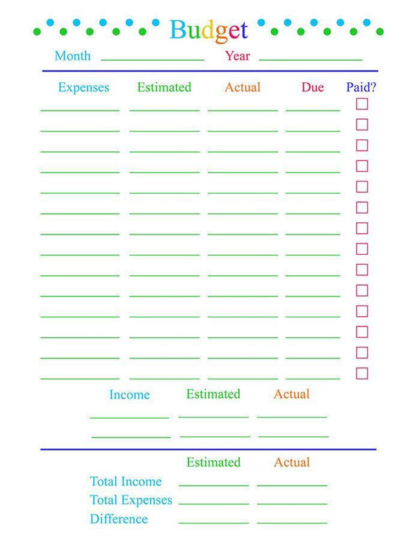 Monthly Budget Planner Printable - The Digital Download Shop