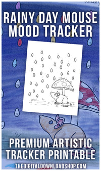 Rainy Day Mouse Mood Tracker: Color by Mood Exclusive- This adorable mood tracker features a cute mouse caught in a rain shower! Even if you don't have great art skills, this printable will help you create a beautiful tracker! | bujo ideas, bullet journal page spread, coloring page, #bulletJournal #moodTracker #DigitalDownloadShop