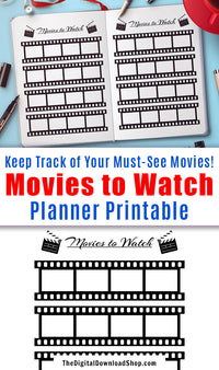 Bullet Journal Movies to Watch Planner Printable- Use this printable for a fun, visual way to remember what films you want to see next! | movie wishlist, planner printable, printable bullet journal inserts, #planner, #bulletJournal #DigitalDownloadShop