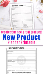 New product planner printable with a minimalist black and white design.