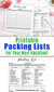 2 travel packing list printables- 1 pre-filled and 1 blank. Use these printable travel checklist templates to make sure you don't forget a thing on your next trip!