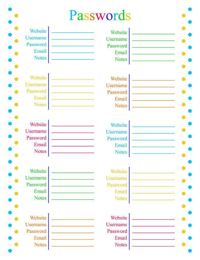 image about Password Tracker Printable named Pword Tracker Printable