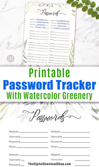 Password Log Printable: Watercolor Greenery- Password tracker printable with beautiful watercolor greenery! Let this password keeper help beautify your desk!