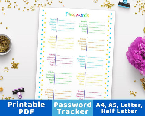 Password Tracker Printable - The Digital Download Shop