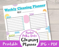 Pastel Polka Dots Cleaning Planner Printable - The Digital Download Shop