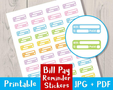 Bill Pay Reminder Printable Planner Stickers