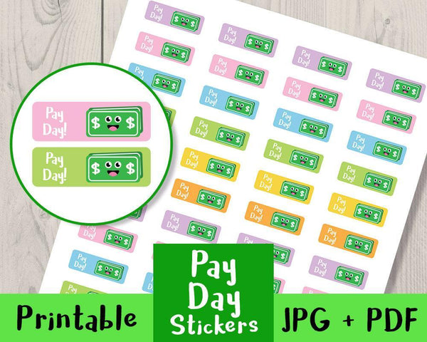 Pay Day Printable Planner Stickers - The Digital Download Shop