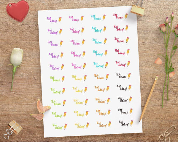 Pencil Test Today Printable Planner Stickers - The Digital Download Shop