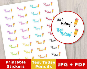 Pencil Test Today Printable Planner Stickers