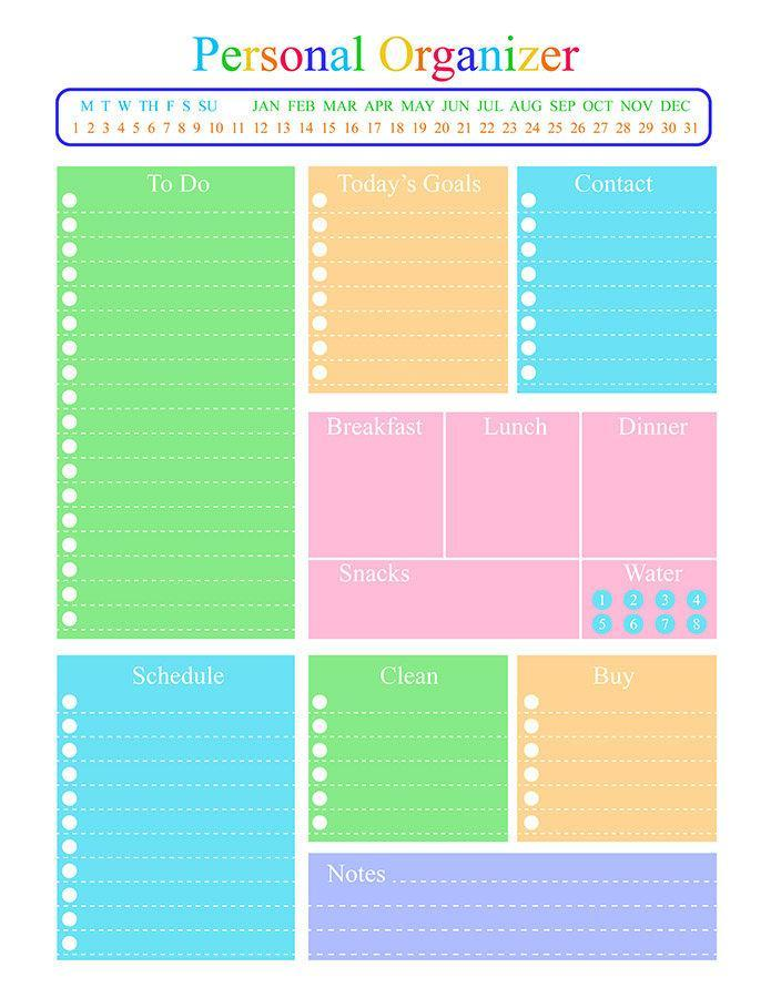 personal organizer daily planner printable the digital download shop