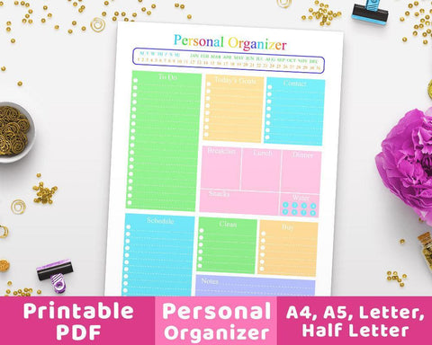 Personal Organizer Daily Planner Printable - The Digital Download Shop