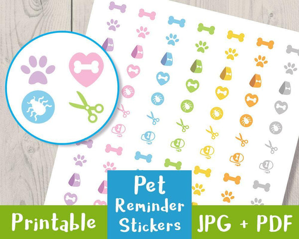 Pet Reminder Printable Planner Stickers - The Digital Download Shop