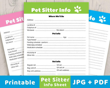 Pet Sitter Info Sheet Printable