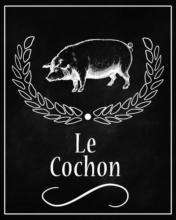 Pig Le Cochon Chalkboard Printable Wall Art - The Digital Download Shop
