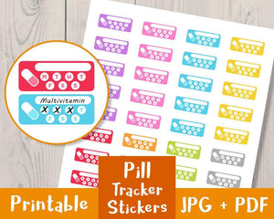 Pill Tracker Printable Planner Stickers - The Digital Download Shop
