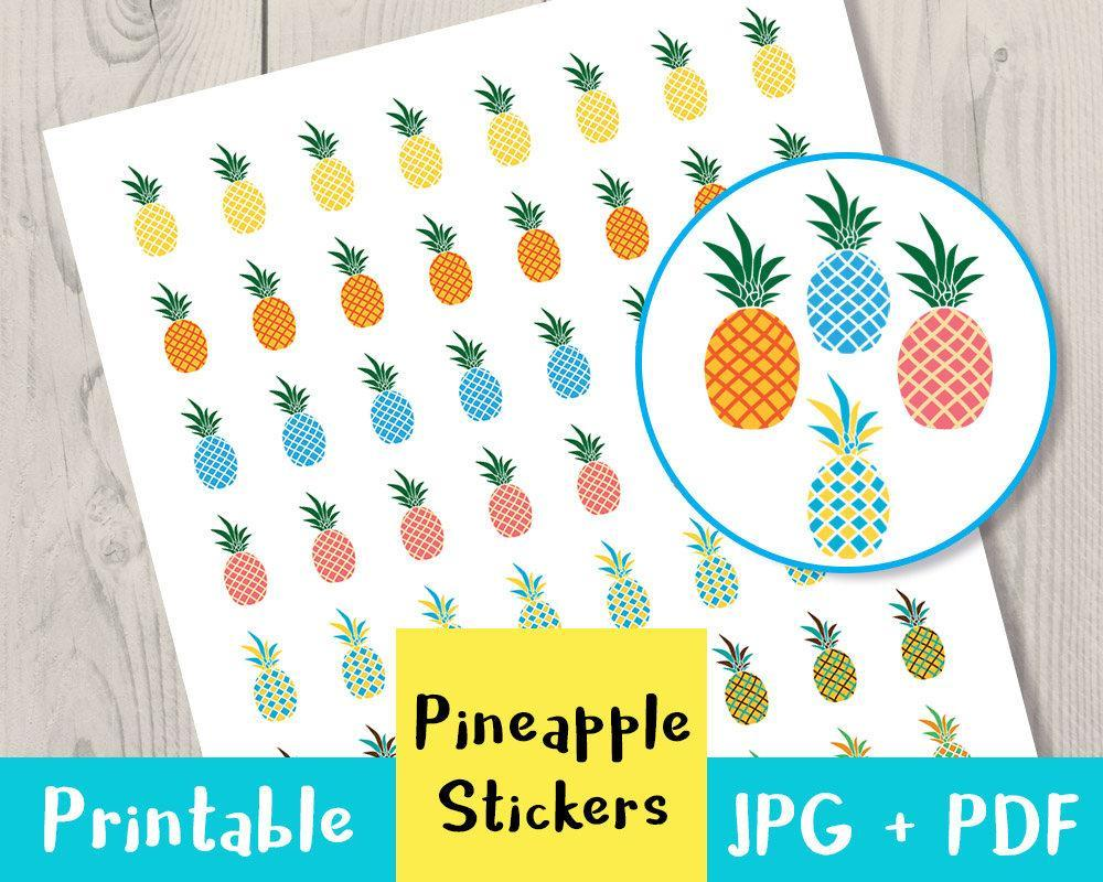 graphic regarding Pineapple Printable identified as Pineapple Printable Planner Stickers