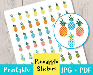 Pineapple Printable Planner Stickers - The Digital Download Shop