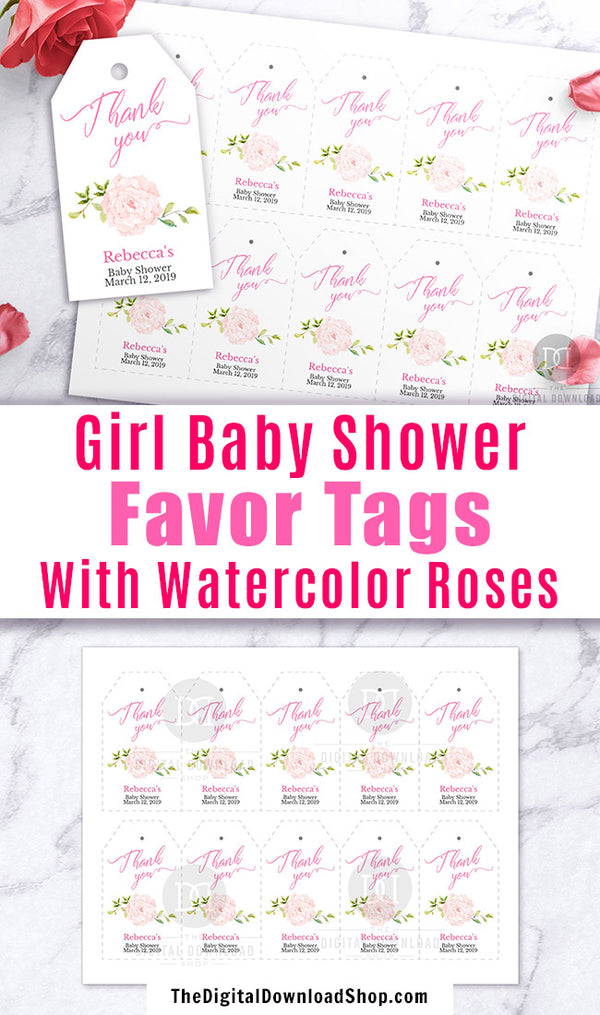 image relating to Baby Shower Thank You Tags Printable named Female Child Shower Want Tags Printable Editable The Electronic