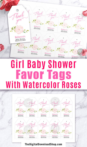 Girl Baby Shower Favor Tags Printable Editable- These thank you tags with pink watercolor roses will add such a lovely touch to the favors at your baby shower or baby sprinkle! | editable gift tags, custom tags, personalized tags, #babyShower #favorTags #DigitalDownloadShop