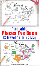 Places I've Been Map Coloring Page Printable- This printable United States map coloring sheet is perfect for people who love to travel! | #coloringPage #printable #DigitalDownloadShop