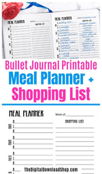 Weekly meal planner + shopping list planner printable for bullet journals and other planners. | #bulletJournal #bujo #mealPlanner #menuPlanner #DigitalDownloadShop