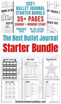 This big bujo printable bundle is perfect for beginners starting their first bullet journal in 2021, or for experienced bullet journalers who just want to put their 2021 bujo together fast! | #bulletJournal #bujo #planner #printables #DigitalDownloadShop