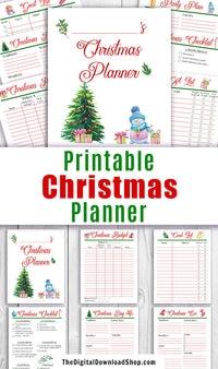 Printable Christmas planner with festive watercolor artwork. This Christmas holiday planner printable will help make this your best Christmas yet! Use the printable Christmas card list, gift list, handmade present planner, online order tracker, menu plan, guest list, and other worksheets to plan and budget for your best, least stressful Christmas ever! | holiday organizer, get organized for Christmas, #Christmas #printable #DigitalDownloadShop