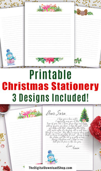 3 printable Christmas stationery \ letter head pages! These are perfect for kids writing letters to Santa, Santa writing letters to kids, or just for writing to family and friends! | holiday stationary, letter to Santa, letter from Santa, printable digital paper, #printable #Christmas #stationery #DigitalDownloadShop