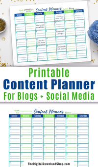 Content Calendar Printable- It's a well known fact that if you want your blog or social media account to do its very best, you have to be consistent! This printable content calendar will ensure you keep posting regularly! | #bloggingTips #socialMedia #DigitalDownloadShop