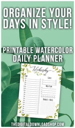Make your to-do list beautiful with this printable daily planner with watercolor greenery! It includes a page for each day of the week! | daily schedule, organize your time, productivity, #planner #printable #DigitalDownloadShop