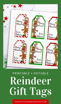 Reindeer Tags Editable Printable- Editable and printable Christmas tags with cute reindeer graphics. These personalized holiday gift tags will add the perfect finishing touch to your holiday presents!