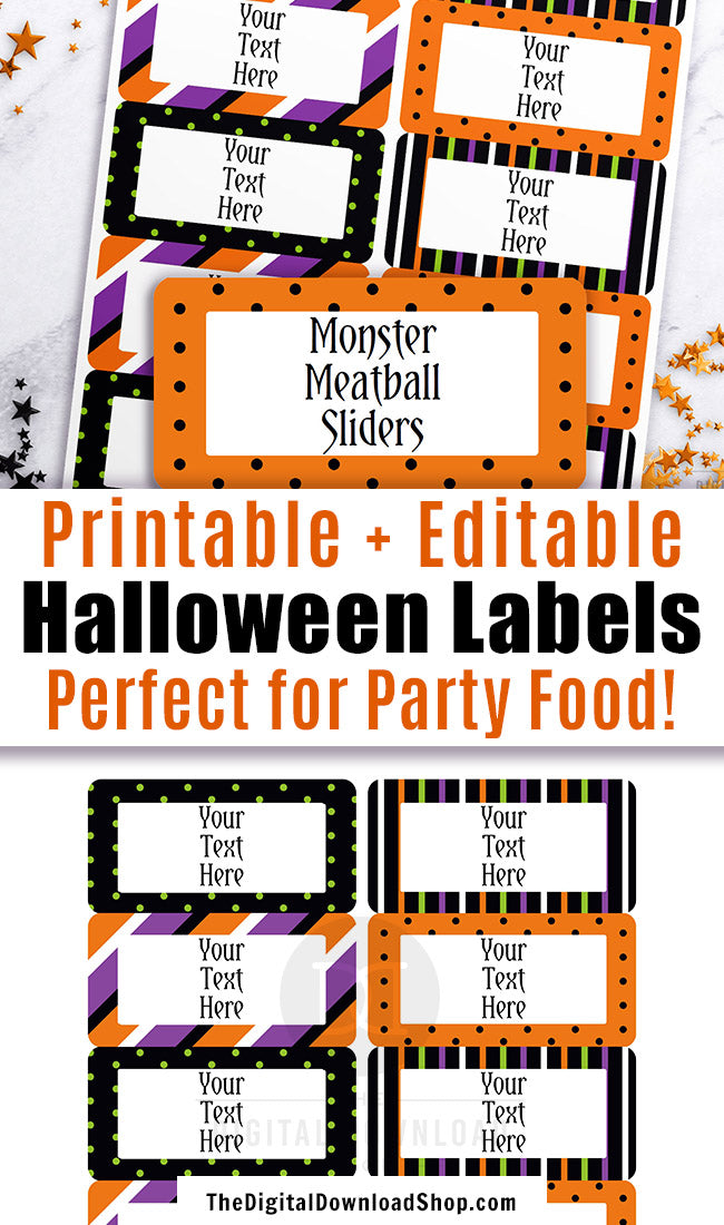 picture regarding Printable Halloween Labels referred to as Halloween Labels Printable Editable The Electronic Down load Keep