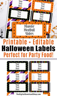 Editable and printable Halloween labels. These editable food labels are the perfect addition to your Halloween party's buffet table! | #Halloween #HalloweenParty #labels #printable #DigitalDownloadShop