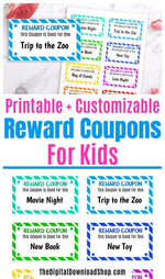 Editable + printable kids reward coupons to reward your kids for doing their chores, getting good grades, having good behavior, and so much more! | good behavior tickets, #parenting #kidsRewardCoupons #kidsRewardTickets #printable #DigitalDownloadShop